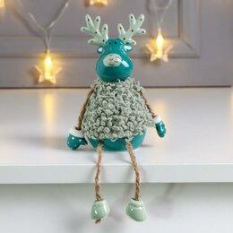 Новогодние фигурки и сувениры - Сувенир керамика 'Лосик в кудрявой шубке' тёмно-зелёный 13,7х6х6,2 см (компле..., 0