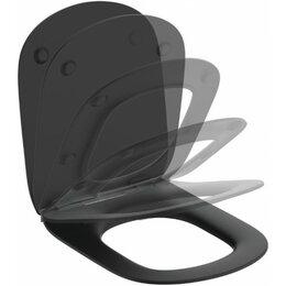 Унитазы, писсуары, биде - Сиденье для унитаза Ideal Standard TESI тонкое, микролифт, легкосъемное, черн..., 0