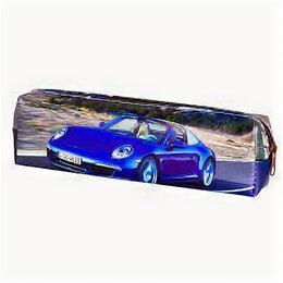 Канцелярские принадлежности - Пенал-косметичка Alingar, ПВХ, молния, 20 см х 7,5 см*3 см, «Синяя машина», 0