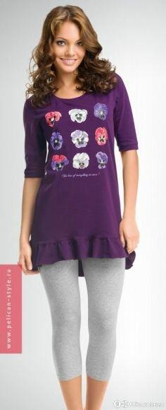 PML244 PELICAN  Пижама Домашняя Жен Фиолетовый по цене 1200₽ - Домашняя одежда, фото 0