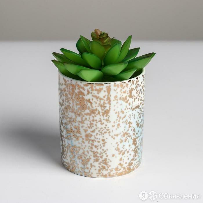 Керамическое кашпо с тиснением 'Вкрапления', 8 х 9,5 см по цене 576₽ - Кровати, фото 0