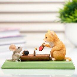 """Головоломки - Сувенир полистоун миниатюра """"Кот и мышка настольный теннис"""" 7х6х13,5 см, 0"""