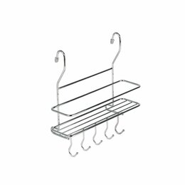 Витрины - Полка на рейлинг малая с крючками, хром 260х100х260 мм MX-402, 0