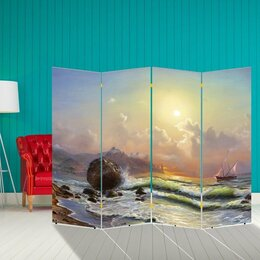 "Ширмы - Ширма ""Корабли. Декор 18"" 200 × 160 см, двухсторонняя, 0"