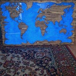 Картины, постеры, гобелены, панно - Карта мира из эпоксидки ручная работа, 0