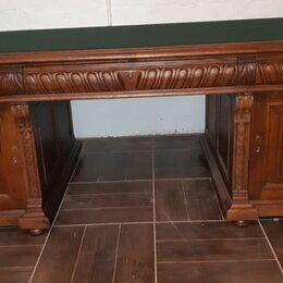 Интерьер - Стол большой кабинетный двух тумбовый. 19 век. Российская Империя. Дуб. Сукно, 0