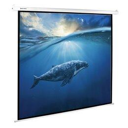 Экраны - Экран проекционный 180 х 180 см, BRAUBERG MOTO, матовый, настенный, электропр..., 0