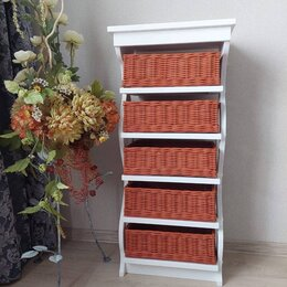 Стеллажи и этажерки - Этажерка с плетеными корзинами., 0
