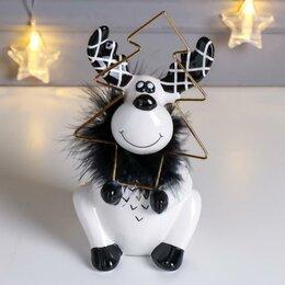 Новогодние фигурки и сувениры - Сувенир керамика 'Лосик с ёлочкой' бело-чёрный с золотом, пух 18,2х10х10,5 см, 0