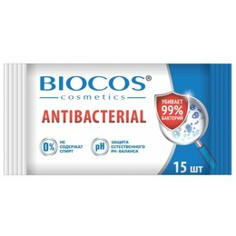 Влажные салфетки - Салфетки влажные антибактериальные BioCos 15шт, 0