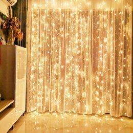 Новогодний декор и аксессуары - Гирлянда занавес штора 3*3 белый желтый синий разноцветный, 0