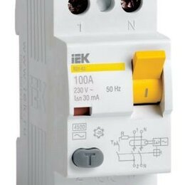Защитная автоматика - IEK ВД1-63 2P устройство защитного отключения УЗО 25А 30мА MDV10-2-025-030, 0