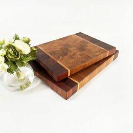 Разделочные доски - Торцевые доски из дуба и красного дерева - набор 2 шт, 0