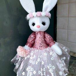 Мягкие игрушки - Игрушка зайка в розовом платье, 0