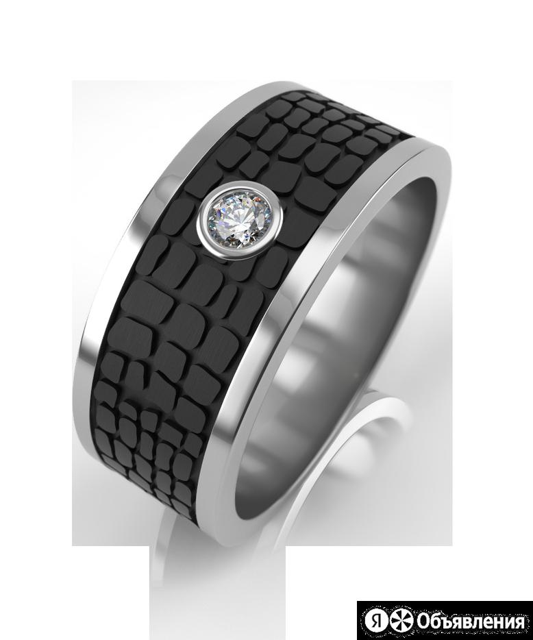 Кольцо из серебра с карбоном и фианитом по цене 6120₽ - Комплекты, фото 0