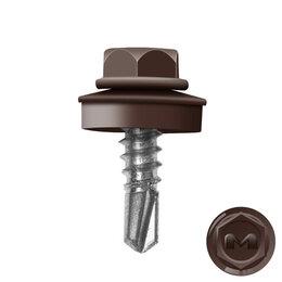 Шурупы и саморезы - Саморез кровельный DAXMER по металлу RAL8017 Коричневый Шоколад 5,5*19мм, 0