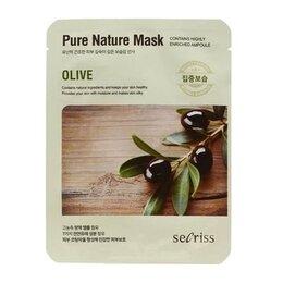 Маски - Тканевая маска для лица с маслом оливы Secriss Pure Nature Mask Pack Olive, ..., 0