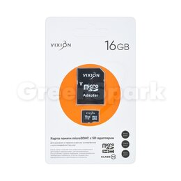 Карты памяти - Карта памяти MicroSD 16GB VIXION Class 10 с SD адаптером, 0