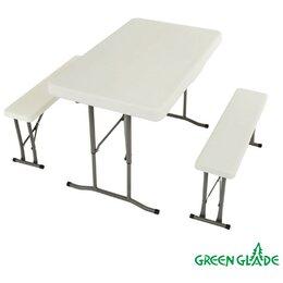 Походная мебель - Набор: стол складной и 2 складные скамьи В113, 0