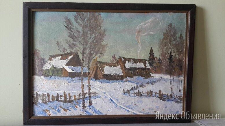 """Картина """"Зимка"""" масло, картон. Неизвестный художник. 1980 г. Размер 39*54 по цене 6500₽ - Картины, постеры, гобелены, панно, фото 0"""