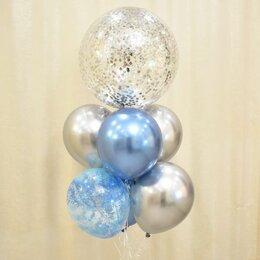 Воздушные шары - Букет шаров хром со сферой с конфетти, 0
