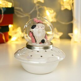 """Новогодние фигурки и сувениры - Сувенир керамика свет """"Дед Мороз в розовом наряде на космическом корабле"""" 12х..., 0"""