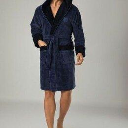 Домашняя одежда - Короткий мужской халат с капюшоном Nusa Mayer 2XL темно-серый. Турция, 0