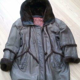 Куртки - Куртка женская р. 50-52 натуральная кожа с капюшоном Ю. Корея, 0