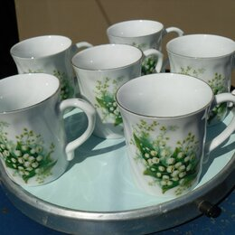 Кружки, блюдца и пары - Набор новых фарфоровых чайных кружек Ландыши, 0
