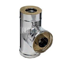 Дымоходы - Сэндвич-тройник 90° (430/0,8мм + нерж.) D 115х200 Ferrum, 0