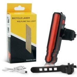 Фонари - Задняя велосипедная фара Bicycle Laser Polyline Tail Light LD-51, USB, 0