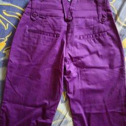 Брюки - Фиолетовые брюки-стрейч х/б для девочек, 0