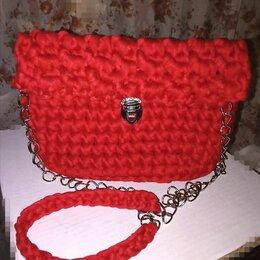 Сумки - Красная сумка из трикотажной пряжи, 0