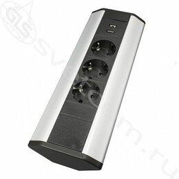 Электроустановочные изделия - Блок розеток угловой TRINGLE-U, 3 розетки EURO, 2 USB, 250В, max 2700Вт, 1.8м с , 0