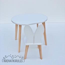 Столы и столики - Детский стульчик зайка и детский столик -комплект, 0