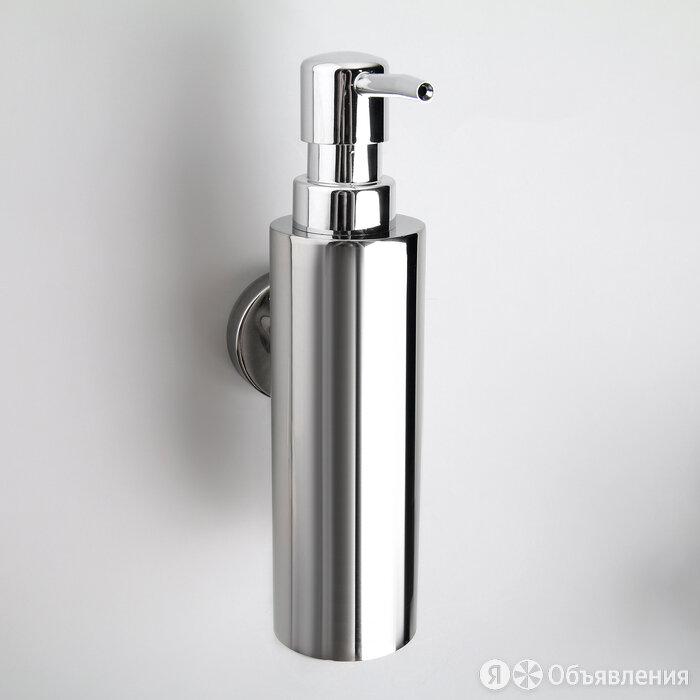 Дозатор для жидкого мыла металлический, с держателем 200 мл по цене 939₽ - Мыльницы, стаканы и дозаторы, фото 0