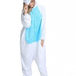 Кигуруми - Пижама Кигуруми Голубой Единорог с белым пузиком 120, 0