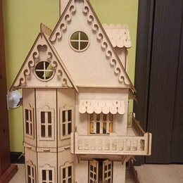Игрушечная мебель и бытовая техника - Деревянный домик (замок) для кукол, 0