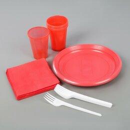 Наборы для пикника - Набор одноразовой посуды «Летний №2», 6 персон, цвет МИКС, 0