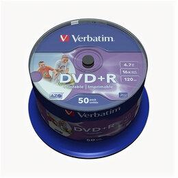 Диски - Диски DVD+R Verbatim 4,7Гб 16x 50шт printable…, 0