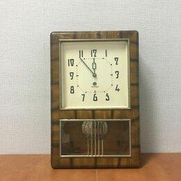 Часы настенные - Старинные, настенные, механические часы СССР Янтарь с Маятником, 0