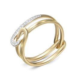 Кольца и перстни - Кольцо с 17 фианитами из жёлтого золота, 0