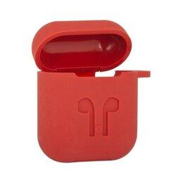 Аксессуары для наушников и гарнитур - Силиконовый чехол для AirPods «LP» с карабином и ремешком (красный), 0