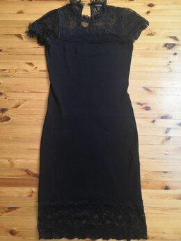 Платья - Платье черное с кружевом 44-46р., 0
