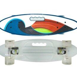 Скейтборды и лонгборды - Скейтборд Navigator пластиковые светящиеся колеса, ручка для переноски арт.Т1..., 0