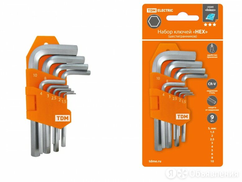TDM Алмаз набор коротких шестигранных ключей типа «HEX» 1.5_2_2.5_3_4_5_6_8_1... по цене 333₽ - Наборы инструментов и оснастки, фото 0