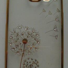 Чехлы - Бампер пластиковый прозрачный с золотистыми одуванчиками для Samsung Galaxy S6, 0