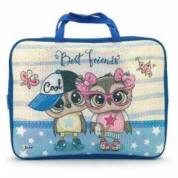 Рюкзаки, ранцы, сумки - Папка - сумка А4  на молнии 1 отд. Оникс Совята, дизайн на пайетках 350*265*80 м, 0