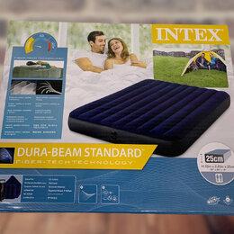 Надувная мебель - Надувной матрас intex classic downy airbed fiber-tech 76х191х25 см 64756, 0