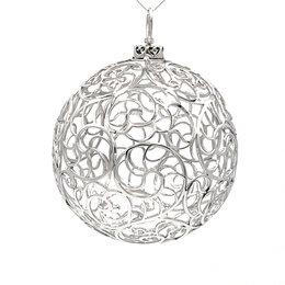 Ёлочные украшения - Серебряная ёлочная игрушка «Шар хохлома», 0